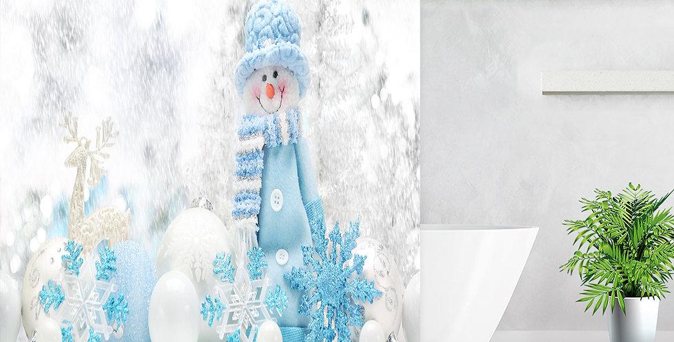 Snowman Blue & White Shower Curtain