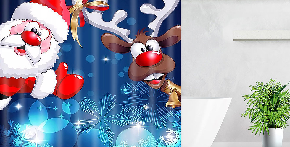 Santa & Rudolph Shower Curtain