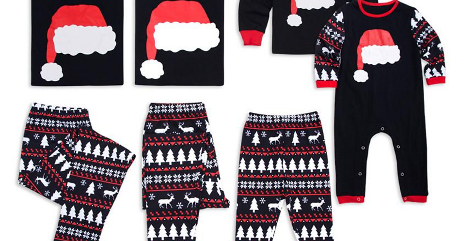 Final Sale Black Pajamas with Santa Hat