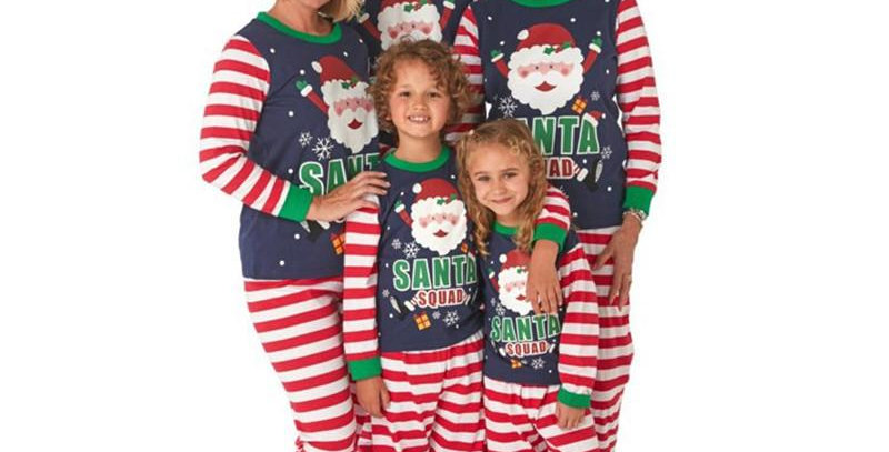 Santa Squad Blue Christmas Family Pajamas