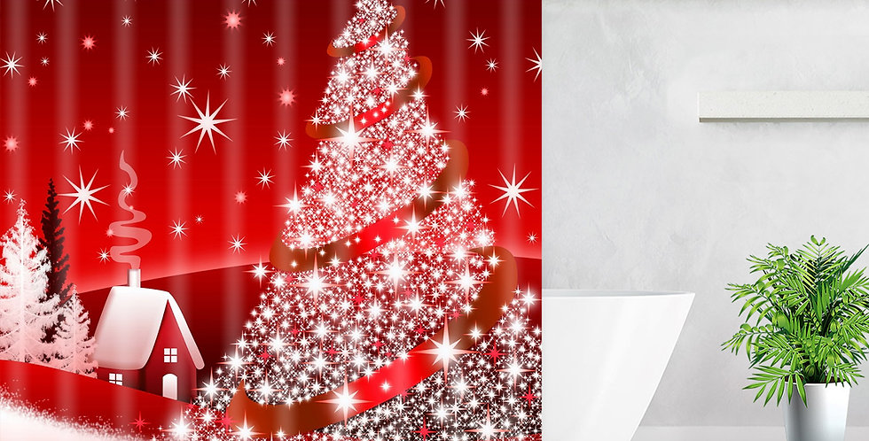 Christmas Tree Red Shower Curtain