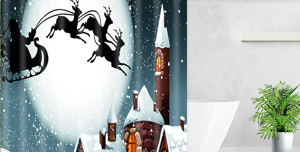 Santa in the Sky Shower Curtain
