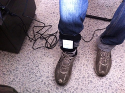 Smartphone attached to the leg