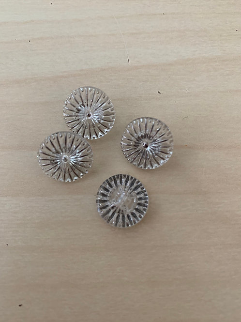 Round glass buttons with silver accents