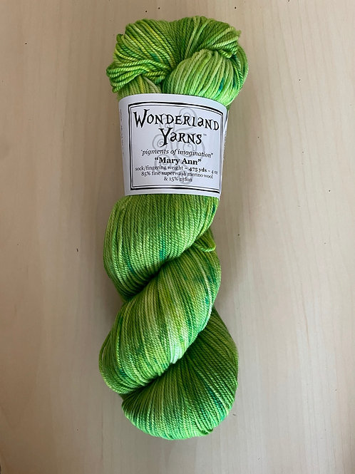 "Wonderland Yarns Mary Ann Sock ""Lime-Light"" #218"