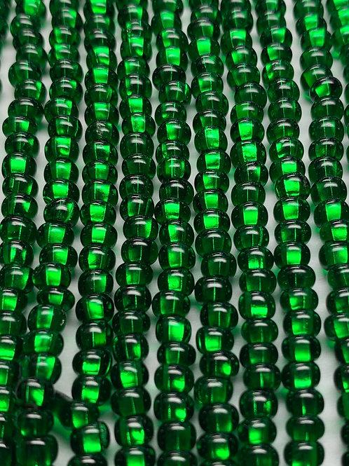Czech Glass 6/0 Seed Beads Silver-lined Green