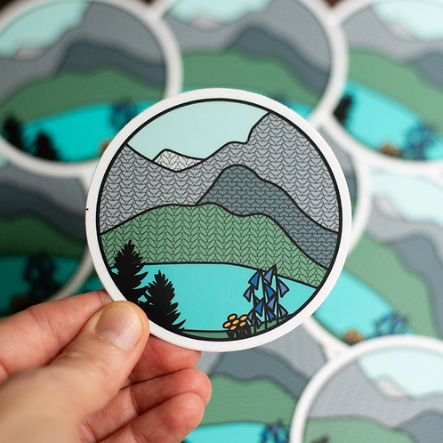ADknits Stickers Glacier Knitional Park Knitted Mountain