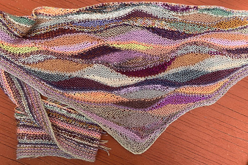 Linda's Short Row Free-form Scarf Desert Tones