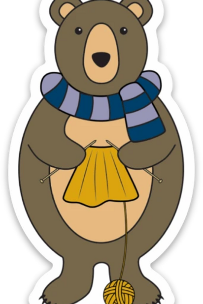 ADknits Stickers Bear Knitting
