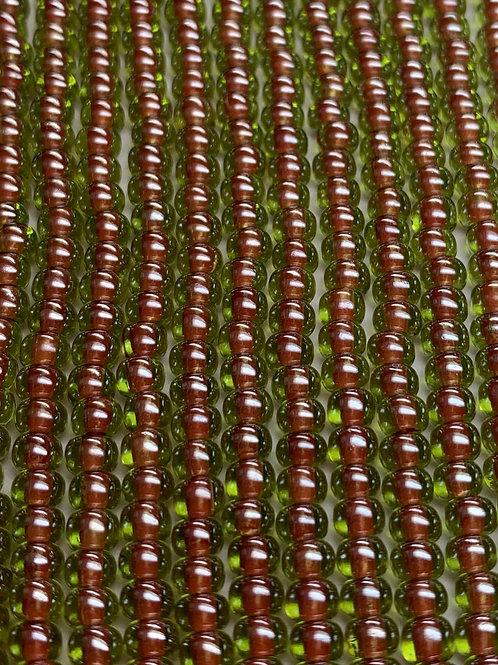 Czech Glass 6/0 Seed Beads Red-lined Peridot Green