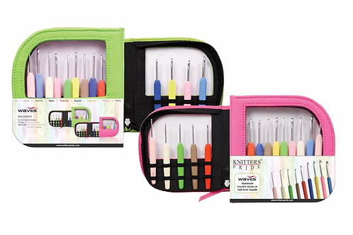 Knitter's Pride Waves Crochet Hook Set (Single Ended) in Neon Green Faux Leather