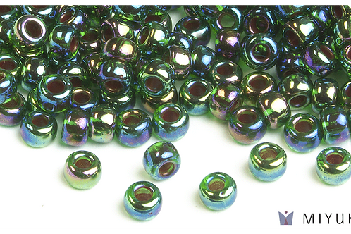 Miyuki 6/0 Glass Beads Cobalt-lined Green AB