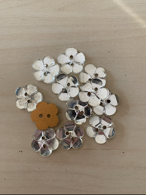 Mirrored Flower buttons w/two holes
