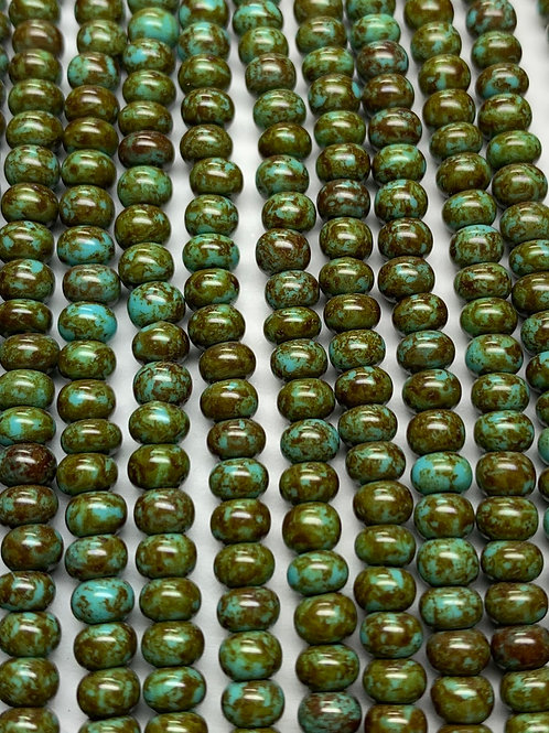 Czech Glass 6/0 Seed Beads Turquoise Blue w/Stone Effect