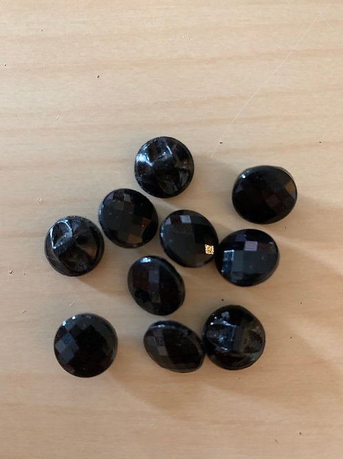 Small Vintage Black Cut Glass Buttons
