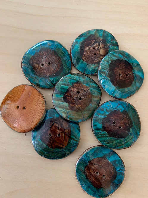 Wavy Wooden button with Turquoise and Brown Crackled Enamel