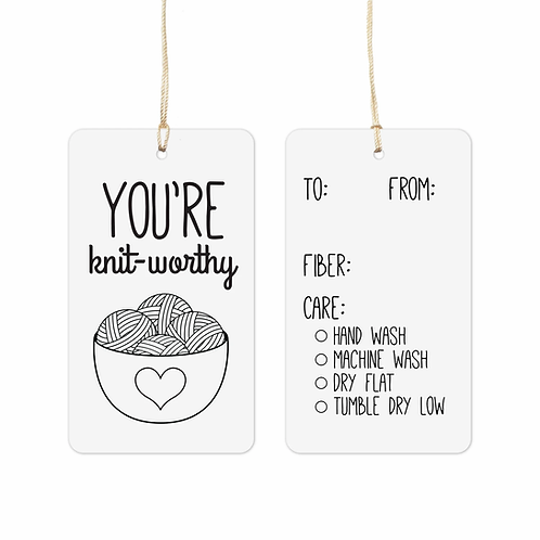 ADknits You're Knit-worthy gift tags