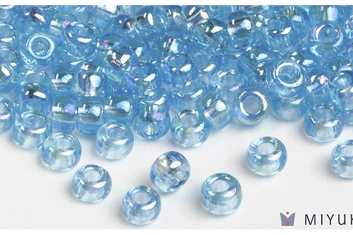 Miyuki 6/0 Glass Beads Transparent Light Blue AB