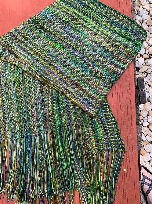 Linda's Linen Stitch Extra Wide Scarf Mostly Green