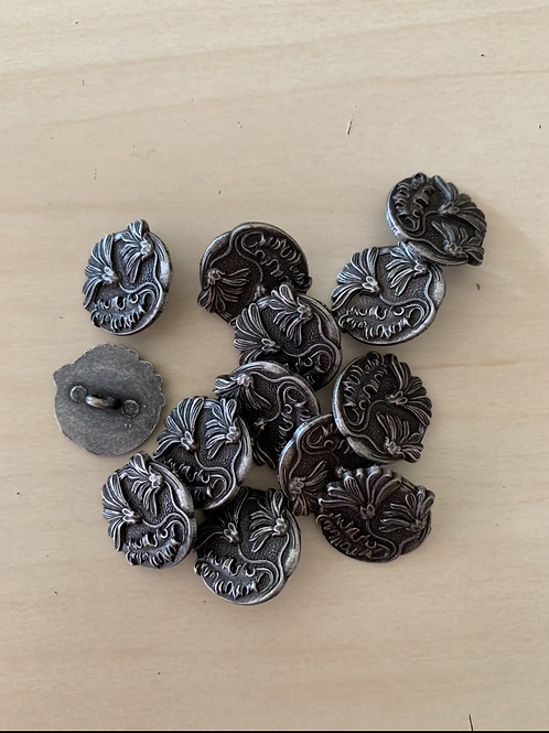 Round metal windswept daisies buttons