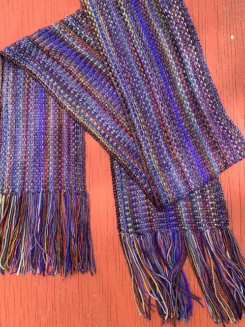 Linda's Linen Stitch Scarf Darker Violet and Earth