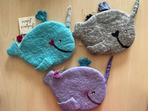 """Frabjous Fibers """"Narwhal"""" felted notions bag"""
