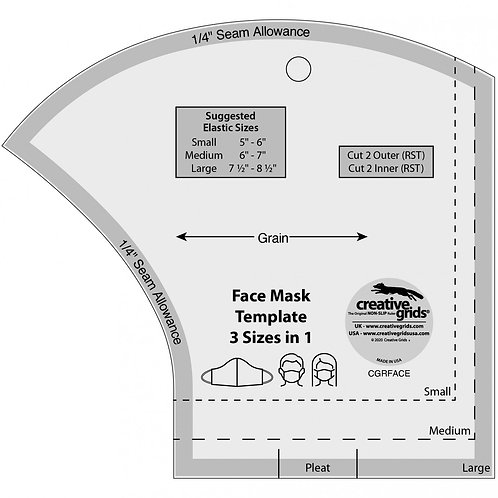 Creative Grids Face Mask Template 3 Sizes in 1
