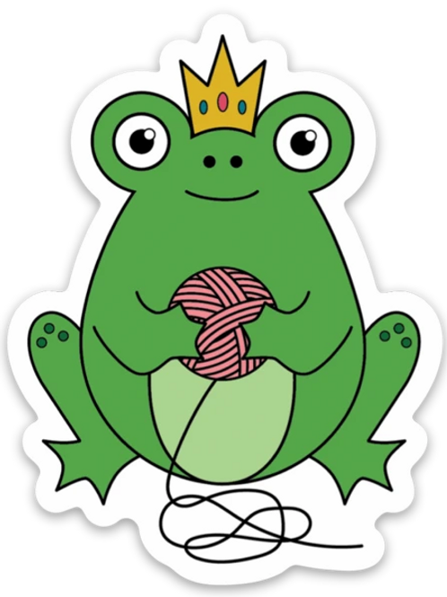 ADknits Stickers Frog Queen Knitting