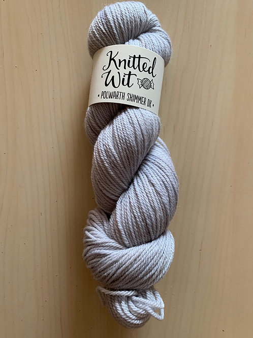 "Knitted Wit Polworth Shimmer DK ""Ghostly"""