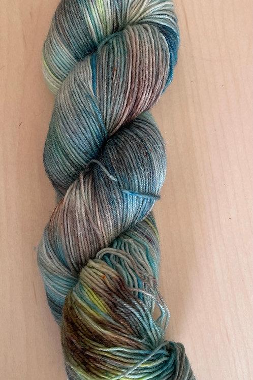 "ColorWae Fiber Arts Sturdy Sock ""Land, Sea & Sky"" ooak"