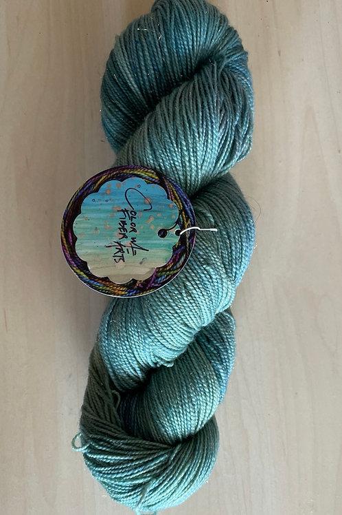 "ColorWae Fiber Arts Sparkle Sock ""Sea Storm"" OOAK"