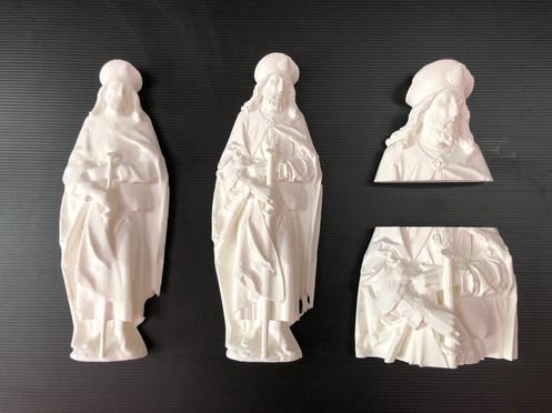 """Tastmodelle zur Sandsteinskulptur des Hl. Jakobus von Tilman Riemenschneider im Museum am Dom Würzburg (Projekt """"Blind im Museum – wie geht das?"""", Wise 2012/13)"""