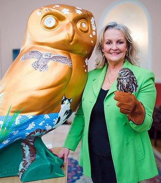 Megan with owl at launch Roman Baths cro