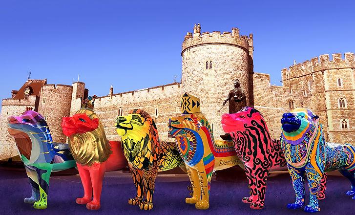 Windsor Lions in front of Castle - edite