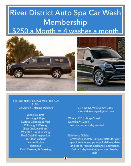 SUV & Ext. Cab Truck Car wash  / detail Membership