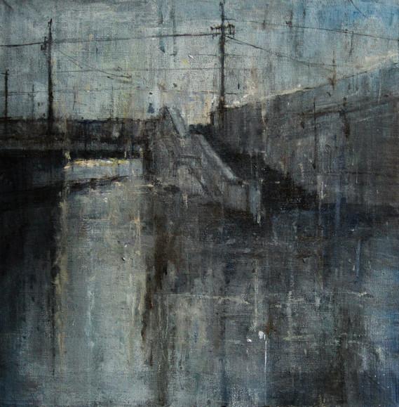 холст, масло  формат 50\50 Литейный мост декабрь 2015 г.