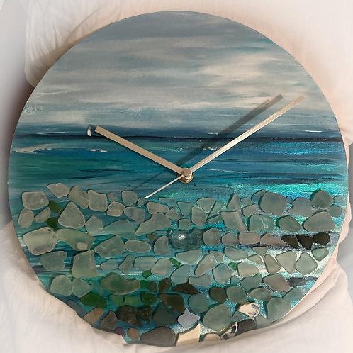 Turquoise Sailor Sea Glass Clock