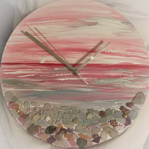 Pink Paradise Sea Glass Clock