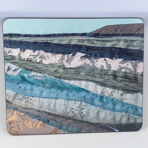 Set of 6 Hardback Placemats with 'Saunton Waves' design