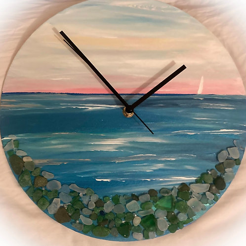 Sunsrise Sea Glass Clock