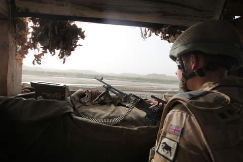 British soldier stands post at Musa Qala