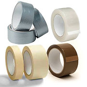 Masking tape, Brown vinyl tape, duct tape, Gaffa tape, Clear tape.