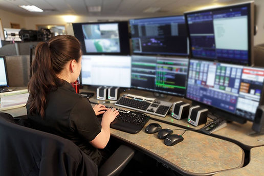 woman with six monitors