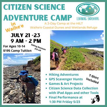 Citizen Science Camp Flyers Summer 2021.