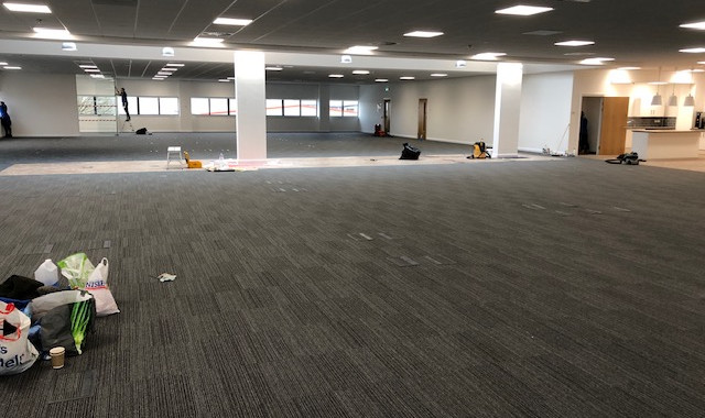 flooring to new office space being completed