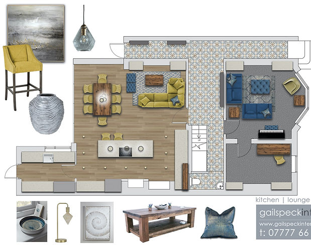 interior plan transformed with Photoshop