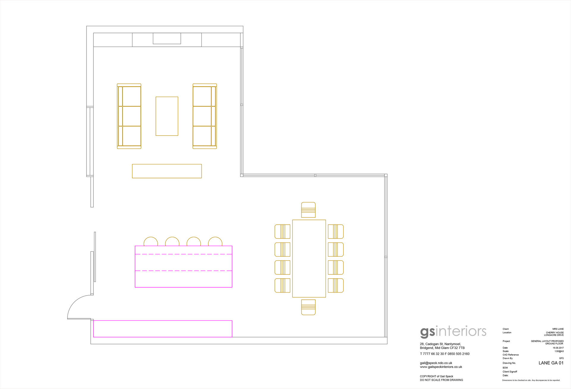 CAD plan of kitchen lounge diner
