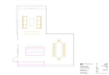 CAD plan of kitchen lounge diner