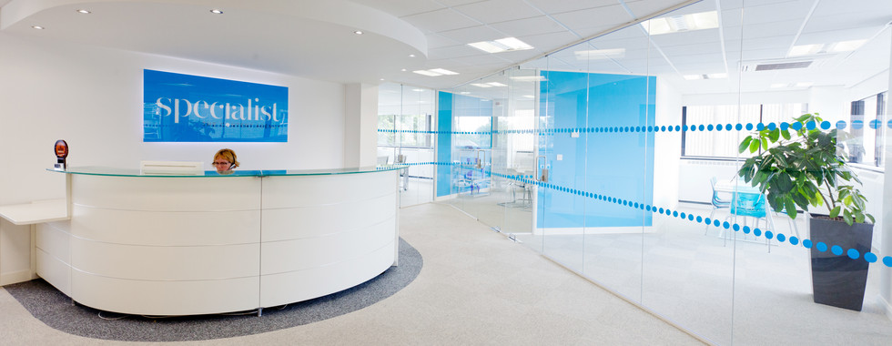 branded reception area