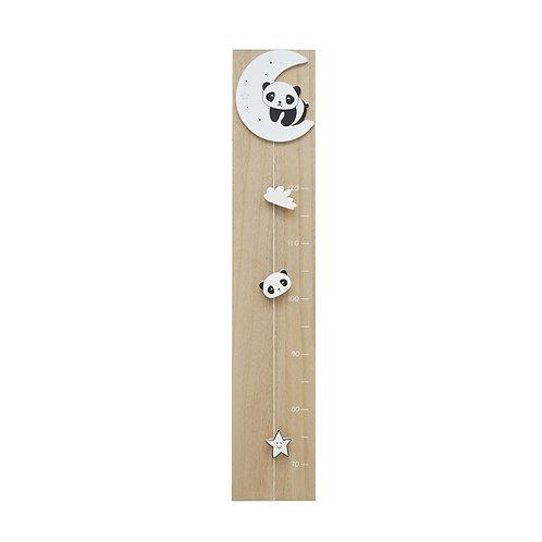 Groeimeter in naturel hout met maan en panda